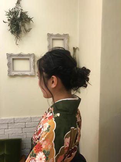 その他 カラー パーマ ヘアアレンジ ミディアム 卒業式 袴ヘア