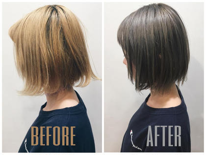 カラーが抜け切ったブリーチ毛を シルバーグレイに☆ ryosukeozawaのショートのヘアスタイル