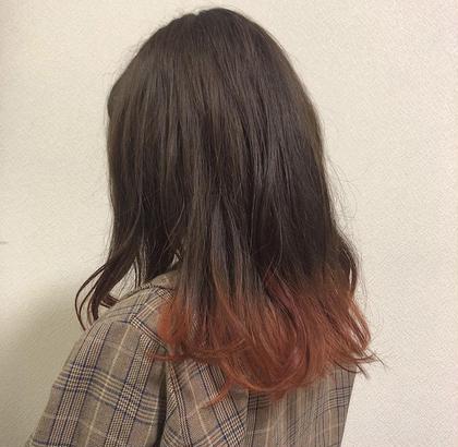 カラー ミディアム #裾カラー#オレンジ#流行カラー#今年はやり#ウィンターカラー