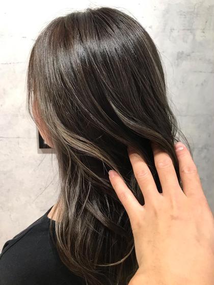 外国人風カラー、巻き髪似合せカット&ドライカット高濃度炭酸トリートメント