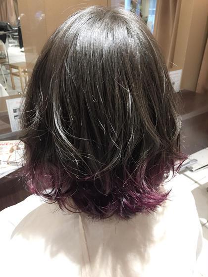 グレージュに紫マニキュアのグラデーション☆ Lee 阪急十三店所属・網静香のスタイル