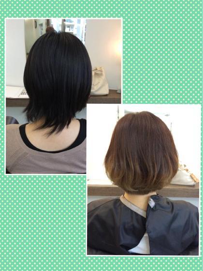 髪も暗くて重たく見えてたのをボブにしてカラーもオシャレにグラデーションにしてみました! エフエール所属・浅野綾子のスタイル