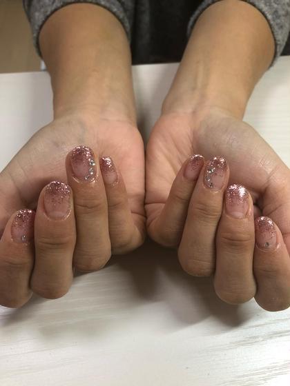 ラメグラデーションにストーン追加♡この季節にも合うくらめなピンク♡ OguraShokoのネイルデザイン