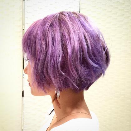 ヘアマニキュアで染めました! カラーはピンクヴァイオレットです! 綺麗に染まってくれたのでモデルさんに感謝です。^_^ ゼンコーシェール吉祥寺所属・土橋優輝のスタイル