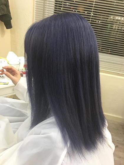 カラー セミロング ブリーチ×2からのブルーバイオレット