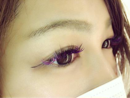 マツエク・マツパ C0.15  11.12.13 全体に紫をミックス♡ 目尻に 濃ピンク×薄ピンク×アクアマリン