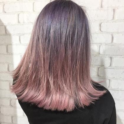 カラー セミロング ピンクパープルカラー