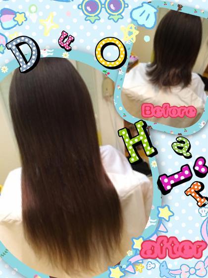 ☆愛されストレートロングヘアー☆彡 肩にかかるくらいの地毛にシールエクステをつけてロングヘアーに!!! 地毛は馴染みやすくするためすいてから取り付けしてます。 モテ愛されの王道ロングスタイルは自分でも扱いやすくスタイリングが楽しくなりますよ(^^♪ DuoHair心斎橋店のロングのヘアスタイル