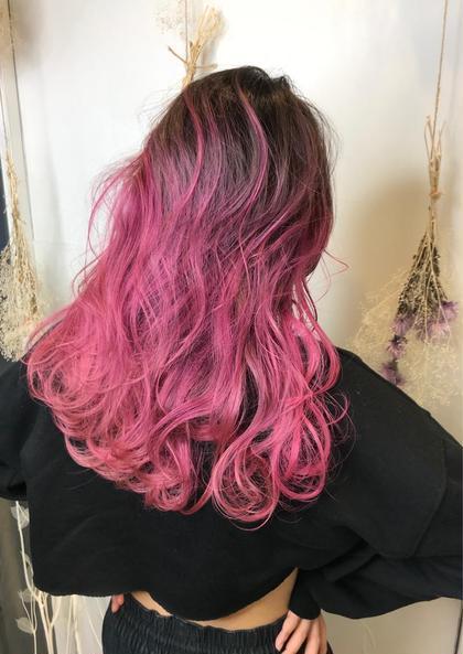 カラー ロング ピンクパープル×バレイヤージュ