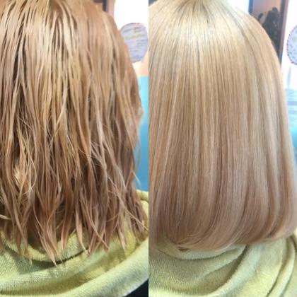 ブリーチ毛も可能な髪質改善縮毛矯正✨トリートメント酸性ストレート+炭酸+三種のtr¥23100→8800✨枝毛カット付き