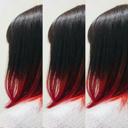 毛先をブリーチ!からの全体的に暗め設定にして赤と紫とピンクを混ぜたマニキュアをのせました♪  他にも絵の具の様にマニキュア混ぜてグラデーション楽しめます♪ Hair&Beauty miq大山所属・竹内愛のスタイル