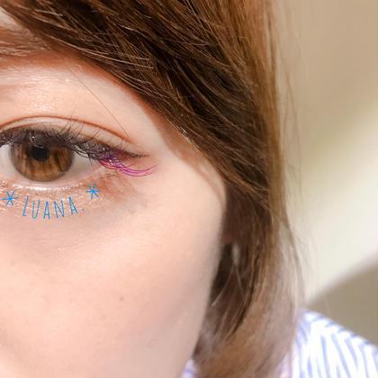 ちょっとしたアクセントに!デイジーカラーのカラーエクステ(*´-`) 目尻 ピンク&パープル mix Luana. by SUNDY-K所属・つめかわなつみのフォト
