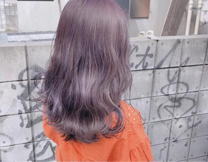 カラー セミロング ヘアアレンジ 透け感たっぷりラベンダーグレージュ!  紫を混ぜることで色落ちがめっちゃきれいに(^^)  ながくたのしめるからーです^ ^