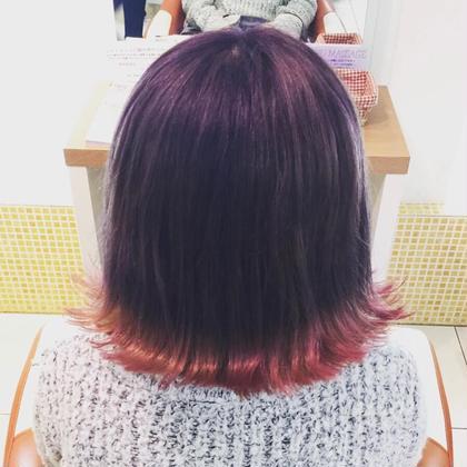 裾カラー パープルからの毛先ピンク フレイス所属・稲田杏奈のスタイル
