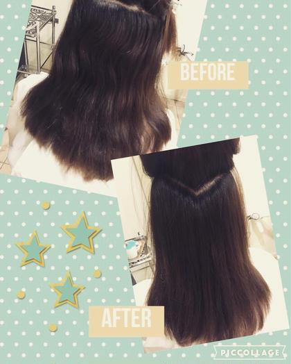 ストレートパーマ✂︎✨ 梅雨ならではの広がり、うねり 解消できます(*^_^*)♡ 通常のストレートパーマでもこれだけ真っ直ぐに!  髪の毛が傷んでいる方や自然の質感にしたい方にお勧めの ストレートもあります! 割高なメニューですが 仕上がりは最高級です✨ ⏩極みストレート ¥15,000(税抜) I-FLAP所属・芳賀優輝子のスタイル