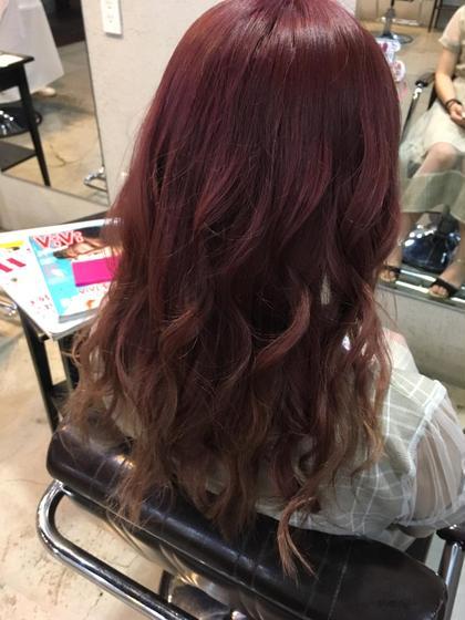チェリーピンクのグラデーション  #ピンク #派手髪