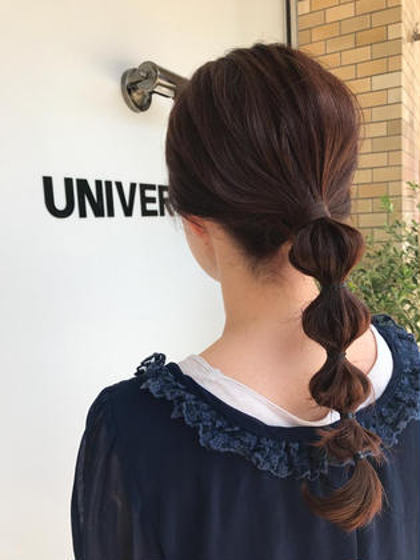 カラー 玉ねぎヘア♪  カラーはNドットカラーベリーピンク♪ 可愛らしく艶感も(^ ^)  いつもと違うカラーもおすすめです!