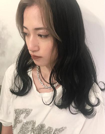 前髪インナーカラー フェイスフレーミング(ブリーチ+色味) + トリートメント