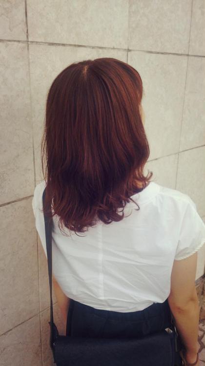 ミディアム デジタルパーマ+ブラウンカラー