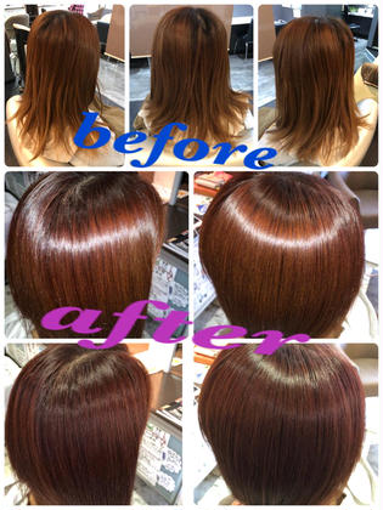 ビフォーアフター!髪に栄養を補給しながら、カラー後に嫌な匂いも消す、アルカリ除去をし、弱酸性に戻し、健康な髪でお帰り頂きます。髪の9割を占めるコルテックスも強化し、日々のブローも楽になります!是非お試し下さい♪ Growth グロース所属・武内忍のスタイル