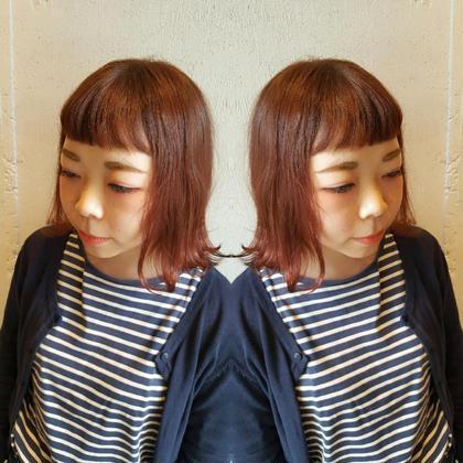 おん眉×ピンク系カラー♪可愛い❤ やないちさとのショートのヘアスタイル