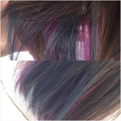 インナーカラー☆  ブルー×ピンク×紫 で おしゃれに インナーカラーなので、こんな派手な色も躊躇なく全然使えちゃいます。ブリーチは必須です。  tiptop  吉祥寺所属・小野澤優香のスタイル