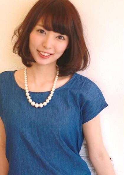 【好印象ボブスタイル】  カット&カラーです。パーマをかけるのもいいかも⭐︎  大人女子にもってこいのミディアムボブですよ✨ AiMER hair salon所属・AiMERhair salonのスタイル
