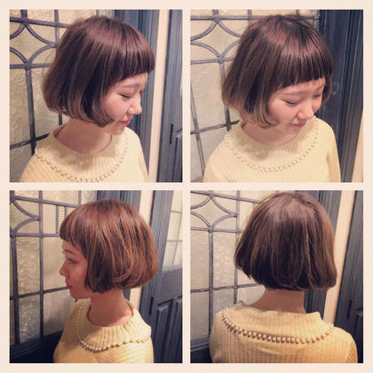 リップラインのやわらかいボブスタイル✨ カラーはアッシュベージュをのせてさらにやわらかさを追加✨ hair design girl所属・芹澤隆信のスタイル