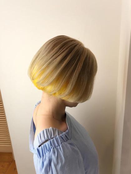こちらは、レモン🍋イエローチャン🎈🎈🎈 インナー《下の部分》だけを黄色にして、トップはミルクティーベージュ🎉❣️🎉  一味違うカラーや、ポイントをきかせたいかたにオススメです😚😚😚 L E A PSL U X B E所属・LEAPSLUXBEのスタイル
