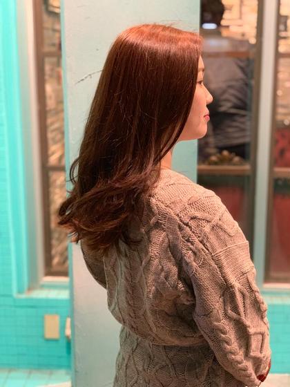 オレンジとレッドを混ぜて、暖かい印象を与えるカラーリング! Hair Lounge Anphi 井土ヶ谷所属・猪子晃良のスタイル