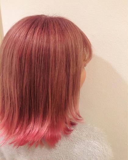 裾カラー 全体をベビーピンクでカラーして 裾をビビッドなピンクで染めました フレイス所属・稲田杏奈のスタイル