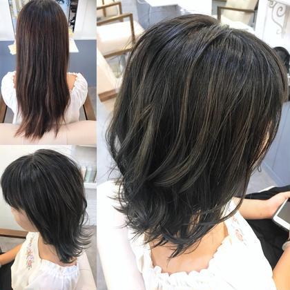 カラー ショート 黒染め2回経験していた髪から バレイヤージュでグレージュに🌟 カットはバッサリと✂︎