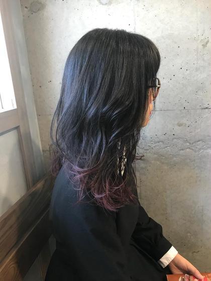 カラー セミロング 裾Lavender gradation★