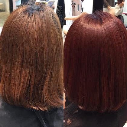 カラー ショート セミロング ミディアム ロング ビフォー&アフター☆  レッドカラー❤︎