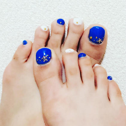 #my nail#blue#gold#white#footnail EARTH磐田店所属・長谷川舞のフォト
