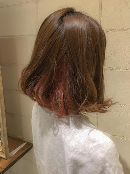 カラー  ◇◆◇◆いんなーからー◇◆◇◆   ピンクのインナーカラー!! ブリーチで抜いて綺麗なお色に╰(*´︶`*)╯♡  夏に向けてイメージチェンジしましょう♪♪