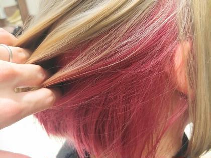 インナーカラー ピンク   #ケアブリーチ #カラーバター #スロウカラー  #オラプレックス #マレイン酸 #グリオキシル酸 #髪質改善 #酸熱トリートメント 【金沢駅 金沢市 片町店】