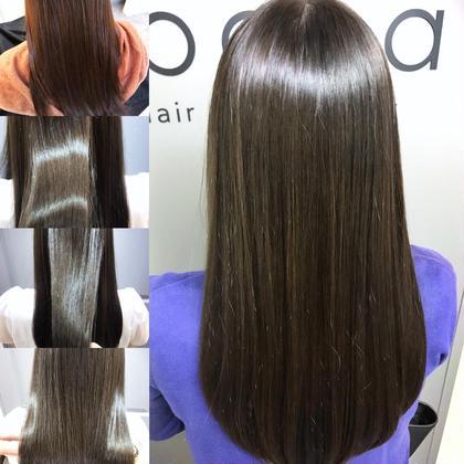 カラー セミロング 艶感アッシュ✨ トリートメントでサラ艶髪に(^O^)