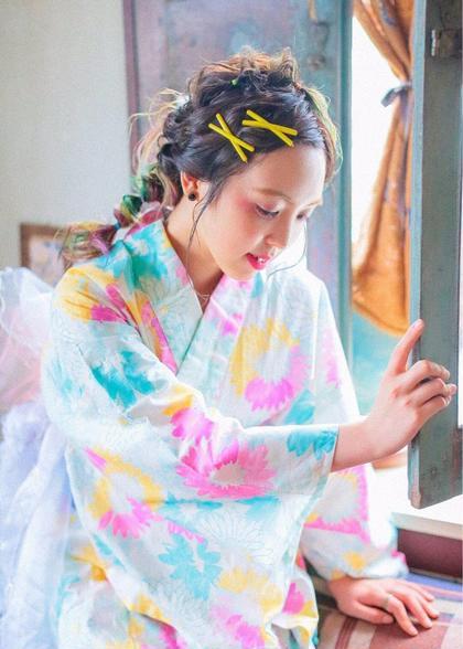 とってもお得な浴衣プラン(着付け+ヘアアレンジ) ¥10800 → 5400円で承ります!!  Aurouge noma所属・鈴木一紗のスタイル
