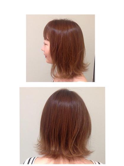 *バングパーマ バングはピンパーマ 毛先は外ハネコテ仕上げ。  FRANK PROVOST  GINZA所属・IBAKIのスタイル