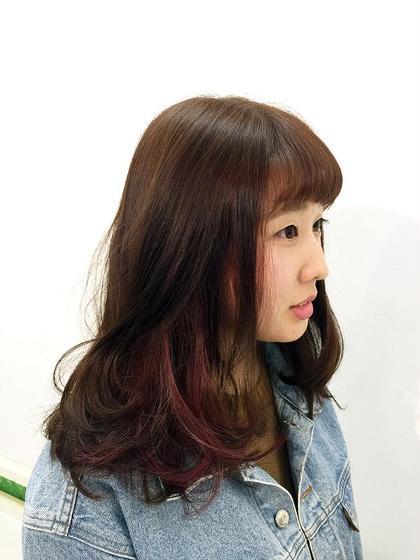 インナーカラーでチェリーピンクを入れてあります。 髪を縛ると隠れるように入れたのであまり派手な色が出来ないという方にもオススメです。 GUZZLE    OTA所属・成川秀明のスタイル