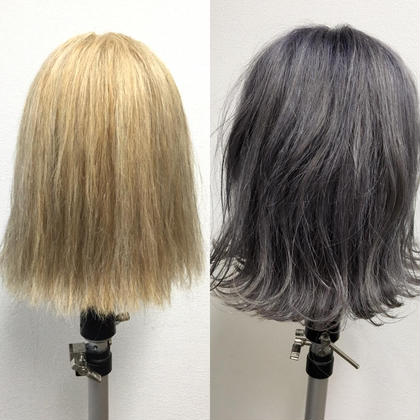 髪質にもよりますが、、、ブリーチ2回してからのシルバーアッシュをオンカラー♪♪うっすらパープル(紫)も入れてます(^^)夏に向けて、透明感あるカラーしましょ〜!!!ボブスタイルもGOOD!!! moana hair所属・西村孝宏のスタイル