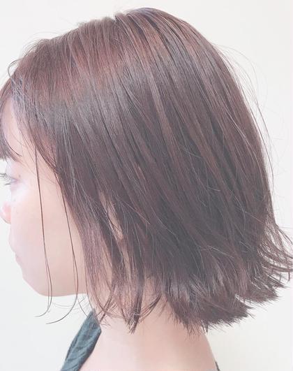 カラー ショート ヘアアレンジ 切りっぱなしボブ🌼   首の真ん中あたりで パツっと切ると、 首筋がシュッときれいにみえます💕   仕上げはオイルとスプレーで 抜け感のある タイトなスタイルに✨