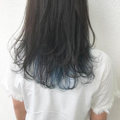 カラー セミロング ocean blue × high light