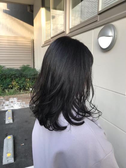 【艶髪白髪染】ハーブ艶リタッチカラー+カット+ガラスTr付¥1100