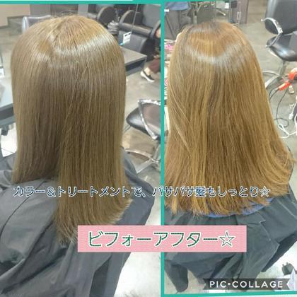 カラー&ハホニコトリートメントでパサパサの髪もしっとり補修!ヘアケアに自信あります。この補修能力はマジですごいですよ! uta天王寺店所属・uta 店長seiyaのスタイル