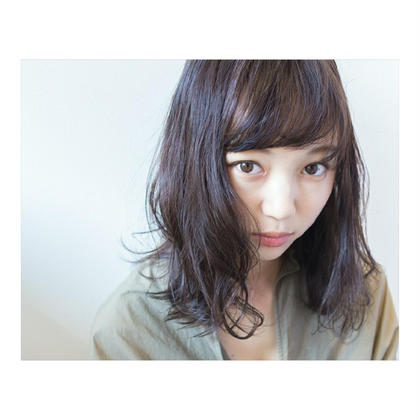 透け感カラー+前髪カット