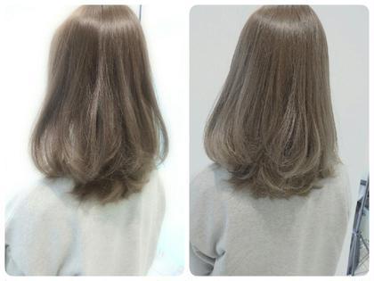 お客様カラー✨ 今回お客様の地毛がもはやアッシュだったのでブリーチなしのオンカラーです グレージュ❗ 最後は、ワンカールで巻いてフィニッシュ✨ クアトロ横浜ビブレ店所属・田中大貴のスタイル