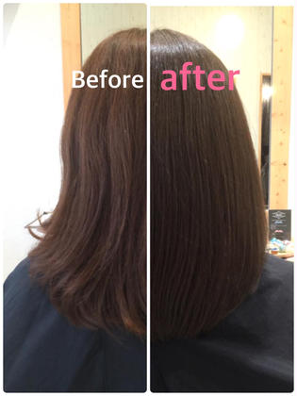 カラーエステ&ツヤ髪トリートメントです。 ツヤツヤですが、ブローが必要です Hair Design Julietヘアデザインジュリエ所属・桑原和誠のスタイル