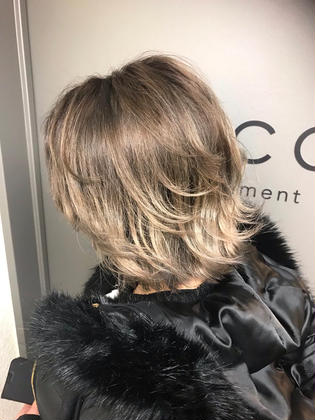 カラー ショート cut / balayage / addicthy / blond / tokio✂︎ ベース.bleach3〜 切れ毛有り
